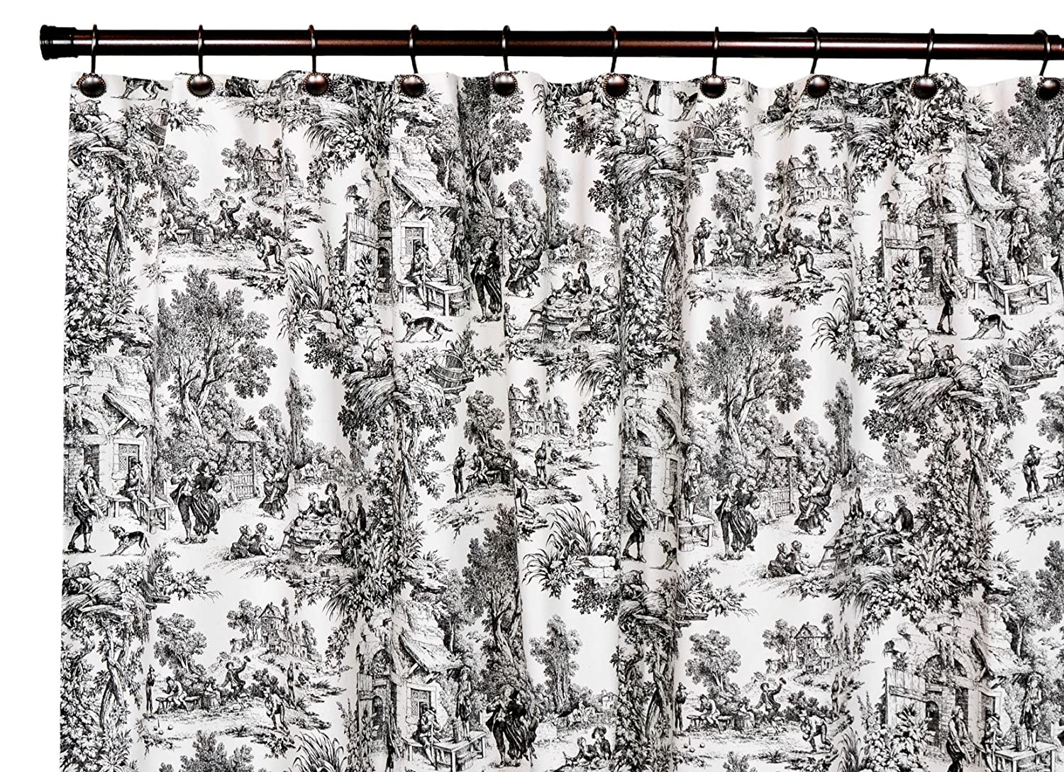 Black toile shower curtain - Amazon Com Victoria Park Toile Bathroom Shower Curtain Black Home Kitchen