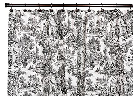 Image Unavailable Not Available For Color Victoria Park Toile Bathroom Shower Curtain Black