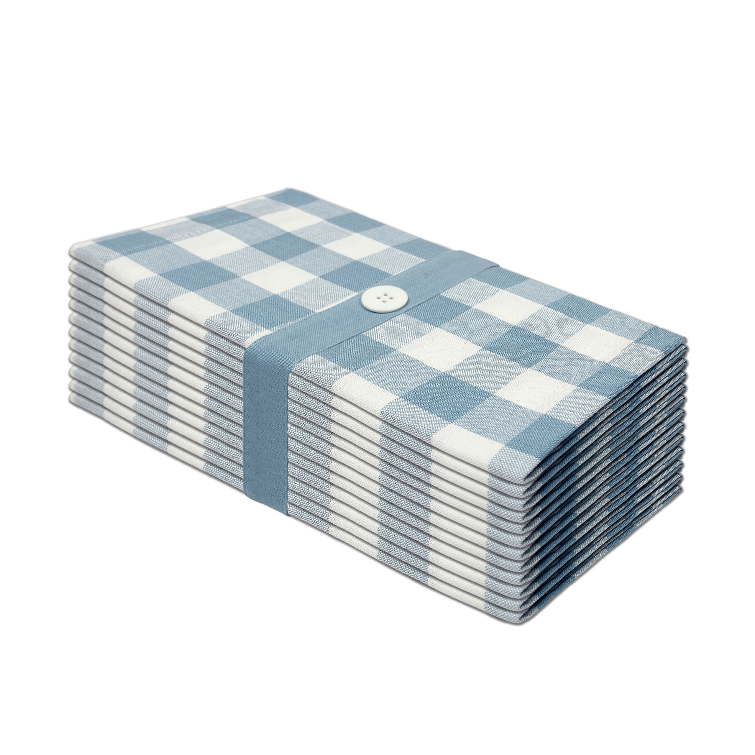 Cotton Craft 12 Pack Gingham Checks Oversized Dinner Napkins - Wedgewood Blue - Size 20x20-100% Cotton - Tailored with mitered corners and a generous hem - Easy care machine wash