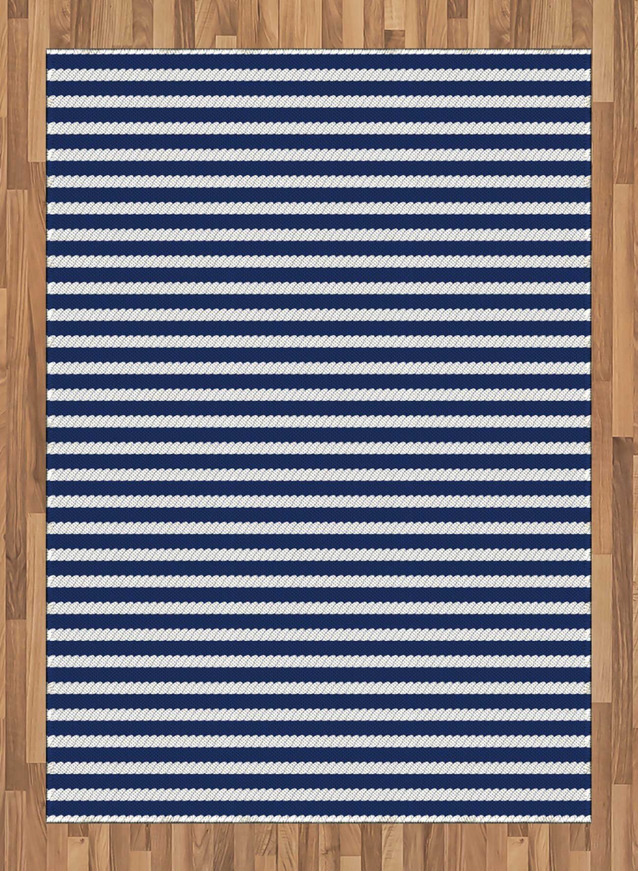 Navy Blue Area Rug by Ambesonne, Yacht Navy Marine Themed Rope Stripe Pattern on Dark Blue Background, Flat Woven Accent Rug for Living Room Bedroom Dining Room, 5.2 x 7.5 FT, Navy Blue and White