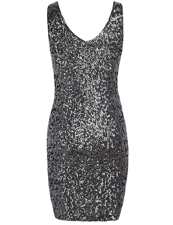 25ea02f0b2 Amazon.com  PrettyGuide Women s Sexy Deep V Neck Sequin Glitter Bodycon  Stretchy Mini Party Dress  Clothing