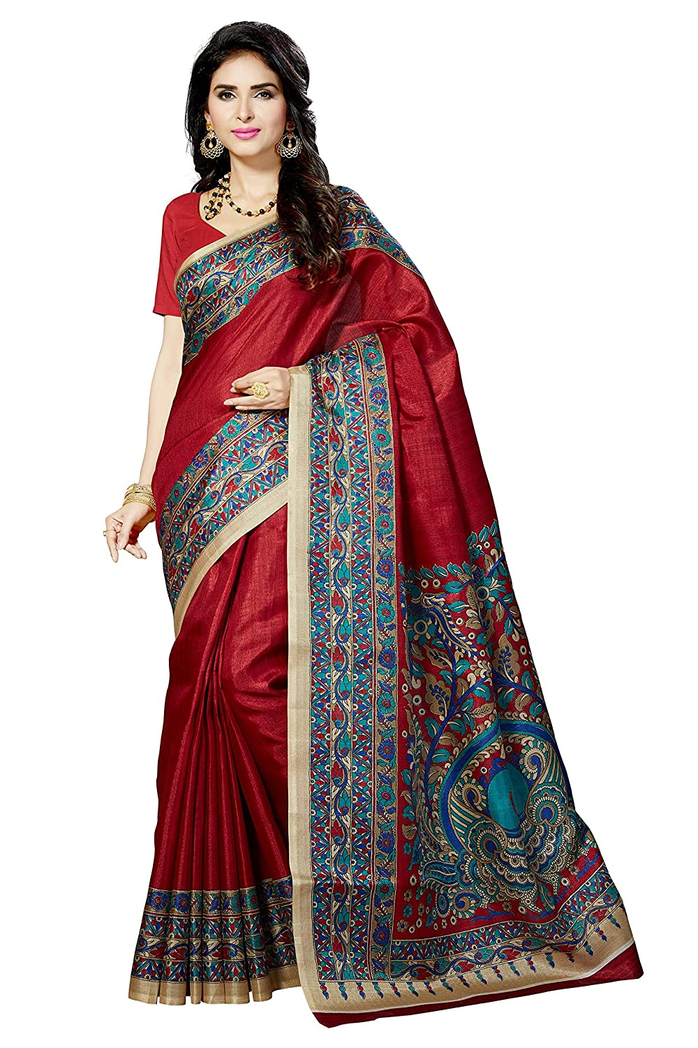 15cd721ff Rani Saahiba Art Silk Saree with Blouse Piece (SKR3065 Black One Size)   Amazon.in  Clothing   Accessories