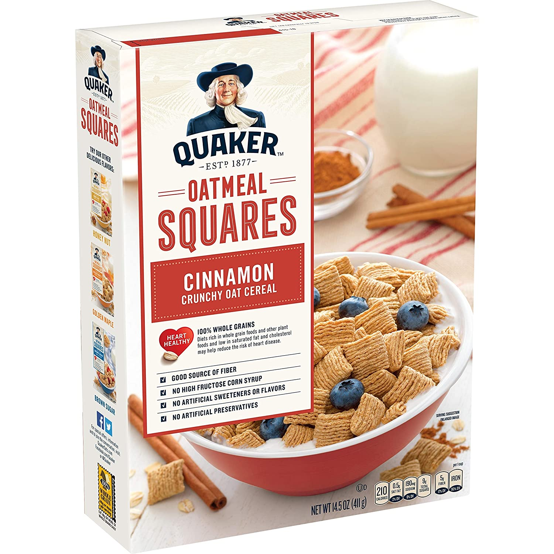 Quaker Oatmeal Squares Cinnamon Breakfast Cereal 14 5 Oz