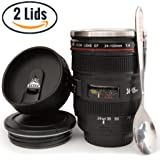 Coffee Mug - Camera Lens Coffee Mug -13.5oz, SUPER BUNDLE! (2 LIDS + SPOON) Stainless Steel, Travel Coffee Mug, Sealed & Retractable Lids! Camera Mug, Birthday Gifts for Men, by STRATA CUPS