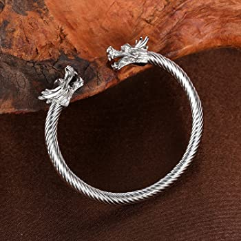 Men's Double Head Dragon Bracelet Adjustable Stainless Steel Sliver Cuff Cool Polished