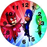 Wall Clock 3D Pj Mask Superhero Wall Clock Watch Vintage Analogue Movement Wall Clock Without Glass For Home / Kitchen / Living Room / Bedroom / Office Designer Wall Clock /Retro Vintage Hand Made 3D Wall Clock / Antique Clock Decorative