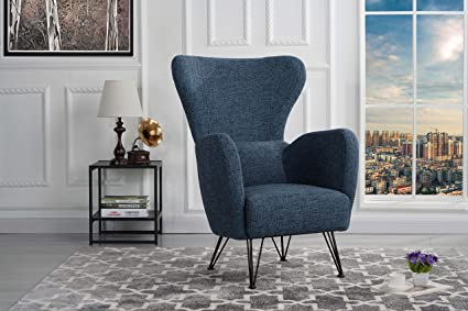 Mid Century Modern Linen Fabric Accent Armchair With Shelter Style Living  Room Chair (Dark