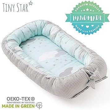 TINY STAR: Nido Para Bebés buena calidad de sueño Multifuncional Reductor 0-6 Meses (Minty Puffs)