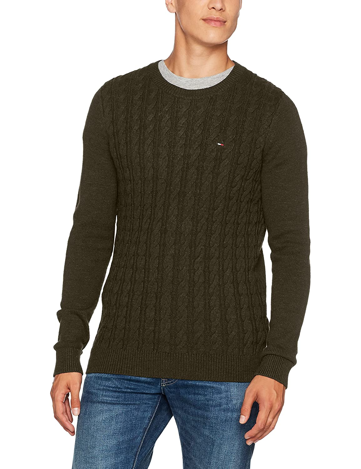 Tommy Jeans Hombre Basic Cable sudadera Manga Larga Normal