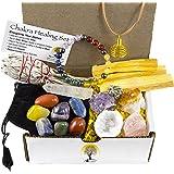 White Sage, Palo Santo Wood & Crystal Healing Kit (17Pc) ~ Smudge Stick, Palo Santo Sticks, Raw Crystals, Quartz Obelisk, 7 Chakra Stones, Bracelet & Spiral Pendant Necklace w COA & Info Card