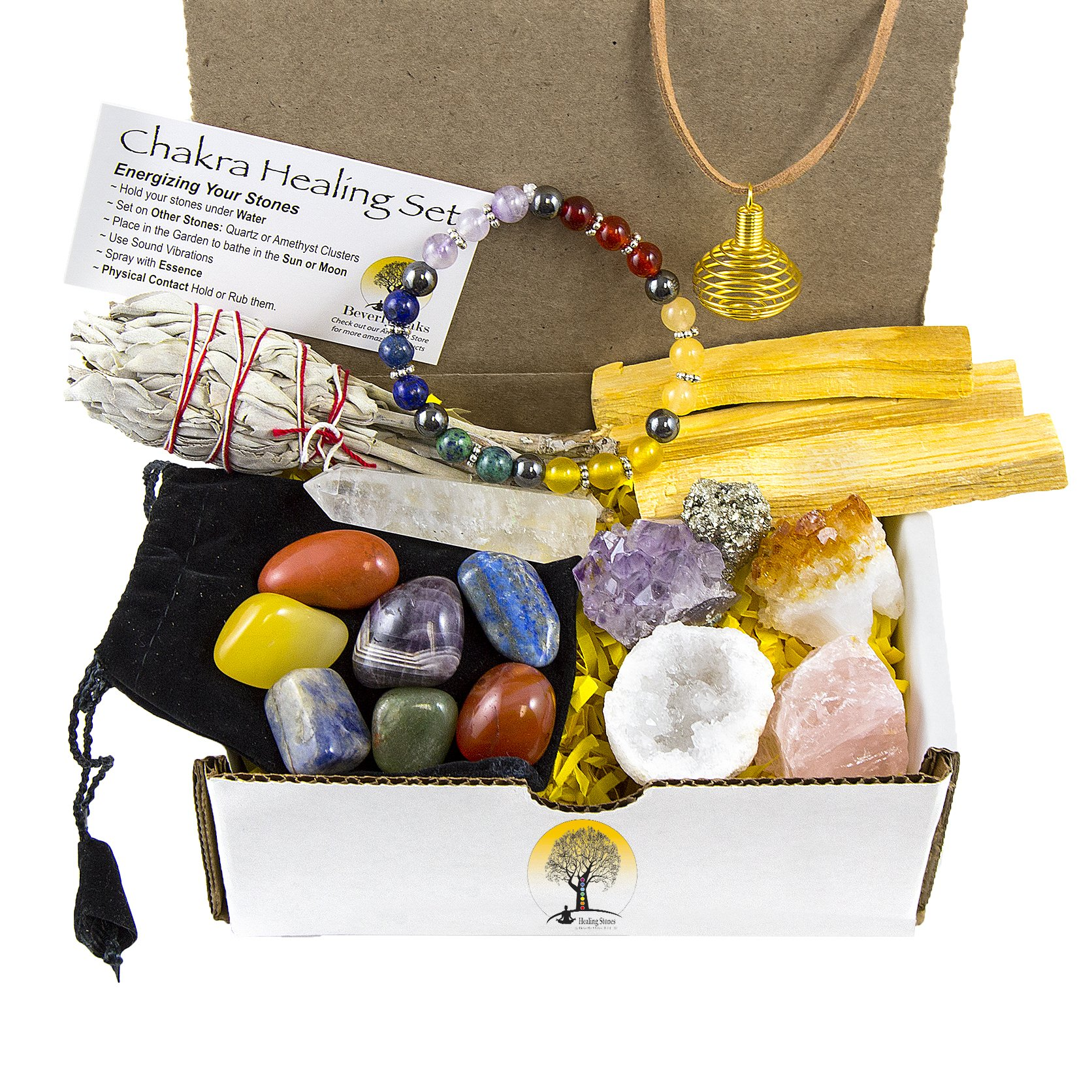 White Sage, Palo Santo Wood & Crystal Healing Kit (17Pc) ~ Smudge Stick, Palo Santo Sticks, Raw Crystals, Quartz Obelisk, 7 Chakra Stones, +Bracelet & Spiral Pendant Necklace w COA & Info Card by Beverly Oaks