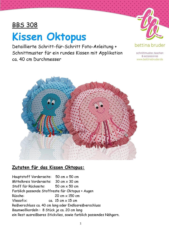 BBS 308 patrón de costura para funda de cojín pulpo calamar ...