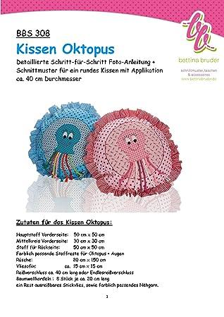 BBS 308 Schnittmuster für Kissenhülle Oktopus Krake Tintenfisch ...