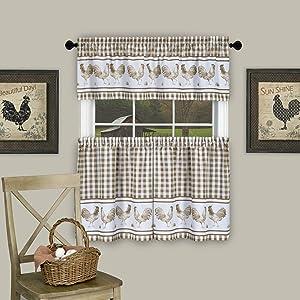 "Achim Home Furnishings Barnyard Window Curtain Tier Pair and Valance Set, 58"" x 24"", Taupe"