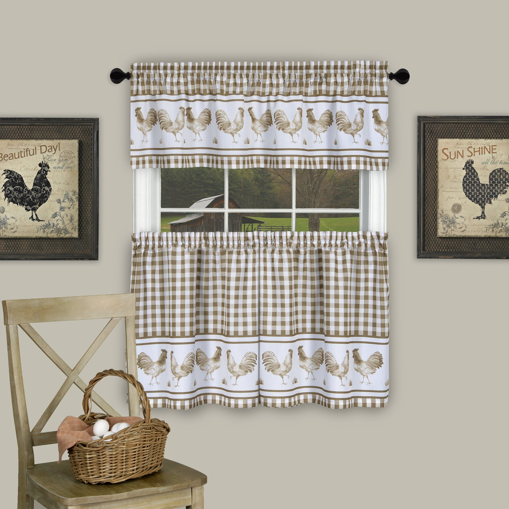 Serenity Home 3 Pc. Plaid Country Rooster Check Kitchen Curtains Tier & Valance Set(58x36, Taupe)