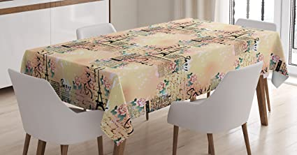 Modern Decor Tablecloth By Ambesonne, French Paris Themed Lettering With  Floral Leaves Details Art,