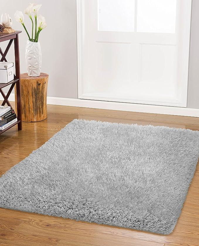 Vista Living Claudia Shag Area Rug 30 In X 48 In Silver Furniture Decor Amazon Com