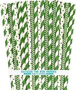 Paper Drinking Straws- St Patricks Green and White Straws - Stripe Chevron Polka Dot - 7.75 x .25 Inches - 75 Pack - Outside the Box Papers Brand