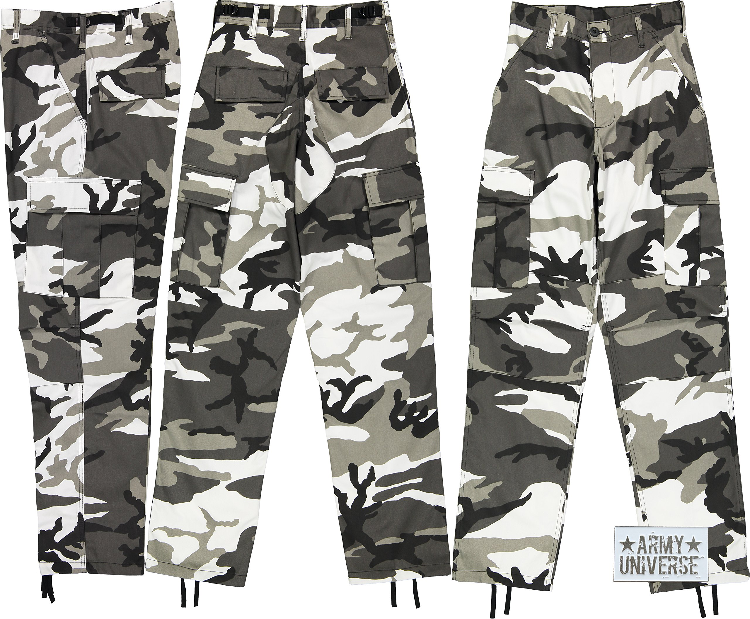 Urban City Camouflage Poly/Cotton Military BDU Fatigue Pants with Official ArmyUniverse Pin (Large Regular W 35-39 - I 29.5-32.5)