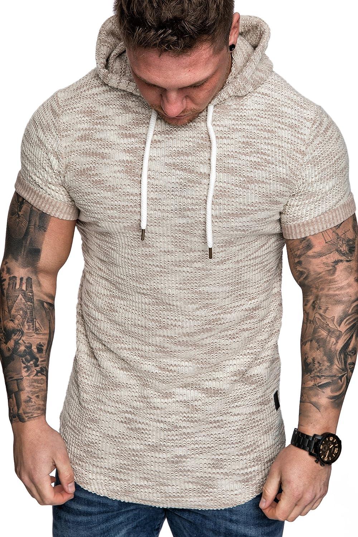 Amaci Sons Oversize Vintage Herren Kurzarm T-Shirt Kapuzen Sweatshirt   Amazon.de  Bekleidung 6a906adad3