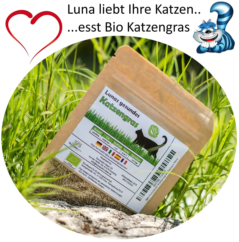 Prime Graines d'herbe chat BIO Lunas ♥ - 1 sachet avec mélange de graines 90g pour environ 45 pots d'herbe à chat prête à l'emploi dans un sac refermable Succesful Ideas Solutions