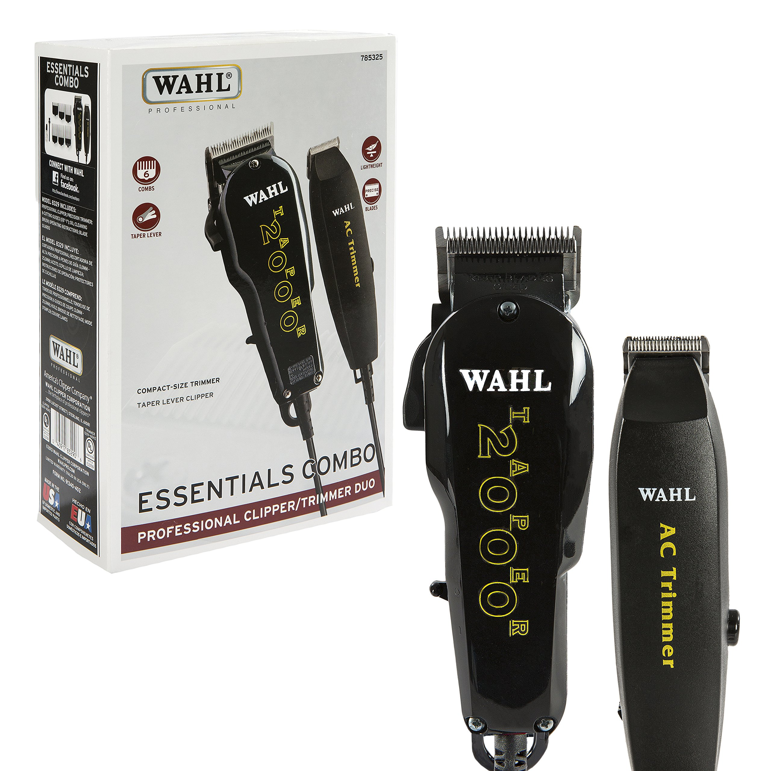 Wahl Professional Essentials Combo #8329 - Features the Taper 2000 Clipper and AC Trimmer - Great for Barbers, Stylists, and Beginning Artists - From Fading and Blending to Edging by Wahl Professional
