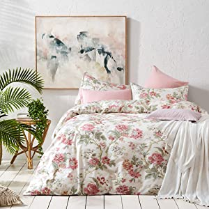 Eikei Home French Country Garden Toile Floral Printed Duvet Quilt Cover Cotton Bedding Set Asian Style Tapestry Pattern Chinoiserie Peony Blossom Tree Branches Multicolored Design (Queen, Ivory)