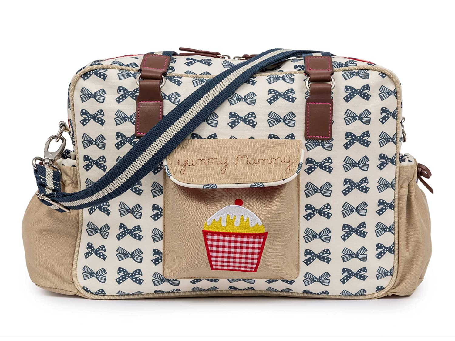 Pink Lining Yummy Mummy Baby Changing Nappy Bag - Navy Bows