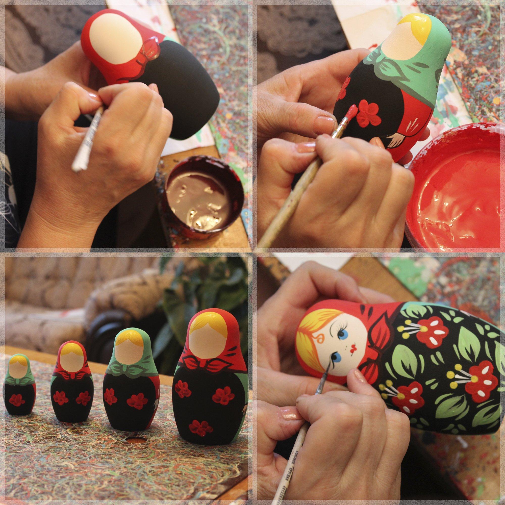 Lot 10 Unpainted Stacking Nesting Dolls Set 4 pcs - DIY Gifts by MATRYOSHKA&HANDICRAFT (Image #3)