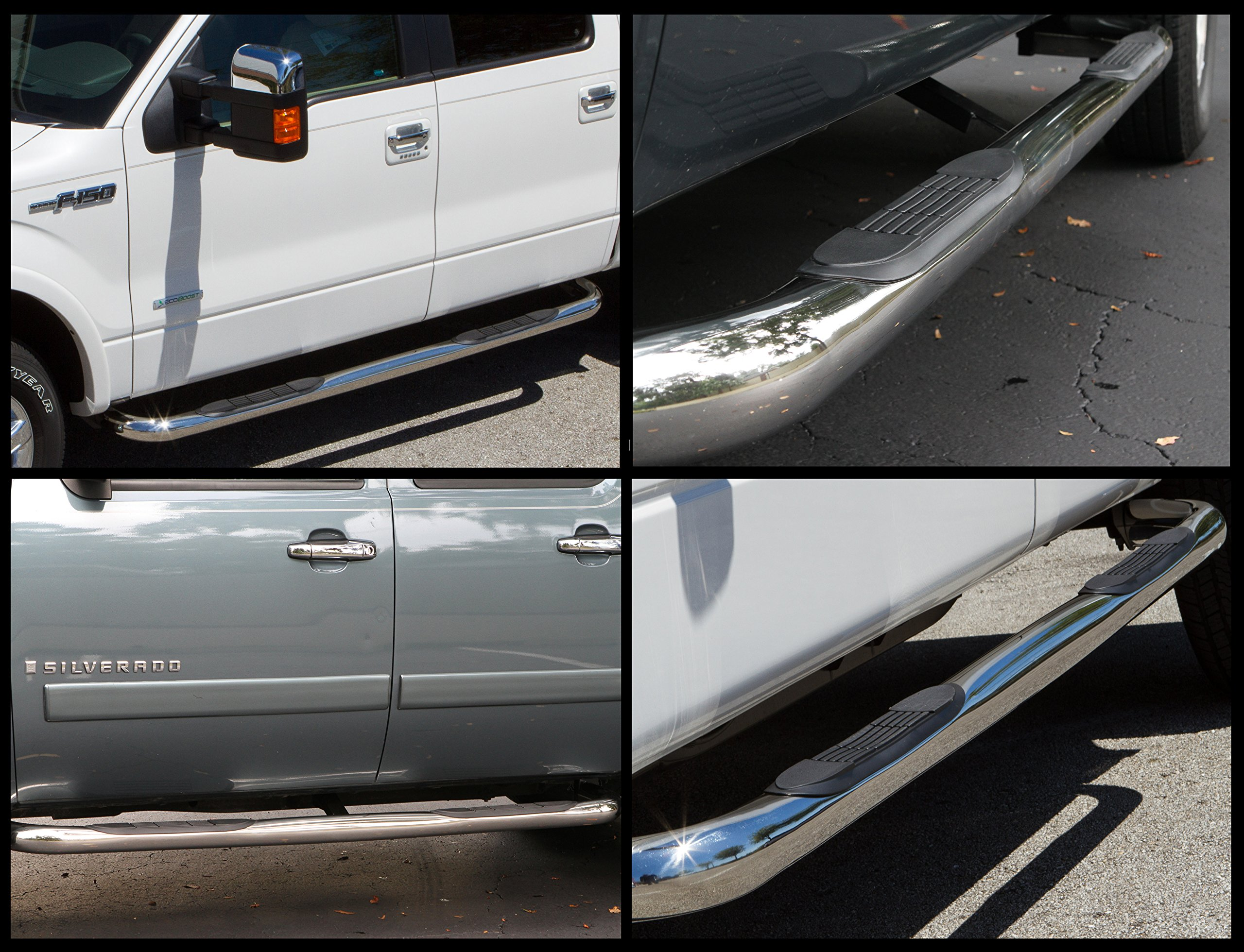 Ionic 3'' (fits) 1999-2018 Chevy Silverado GMC Sierra Only Nerf Bars Side Steps (Crew Cab Rocker Mount, Stainless) by Ionic Automotive (Image #3)