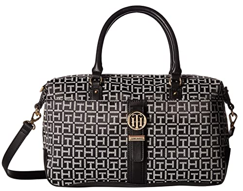 Tommy Hilfiger Womens Evanna Convertible Satchel Black/White One Size