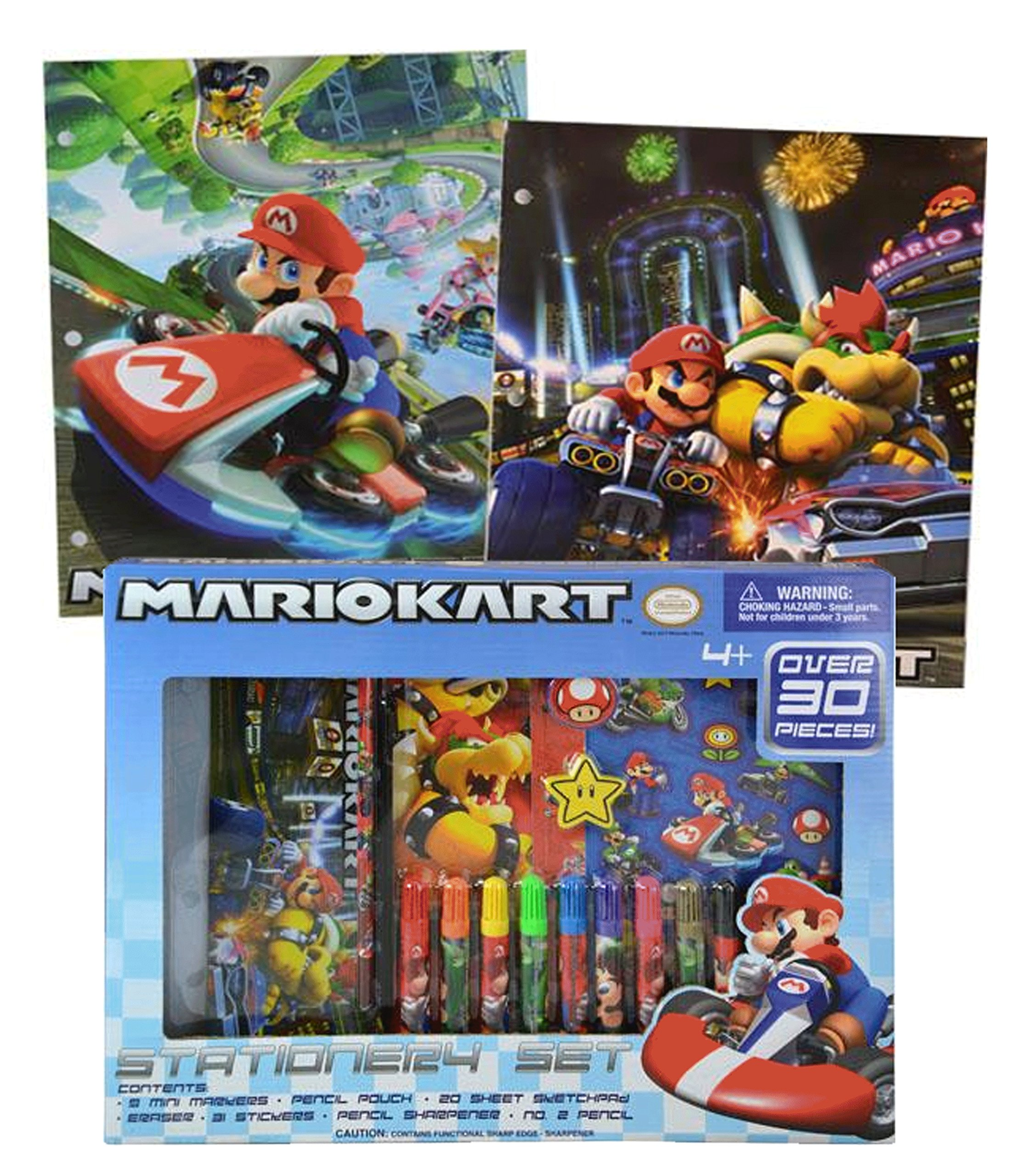 Super Mario Brothers School Supplies Kit Includes Mario Markers, Pencil Pouch, Note Pad, Eraser, Stickers, Pencil Sharpener & No. 2 Pencil! Plus Bonus MarioKart Folders!