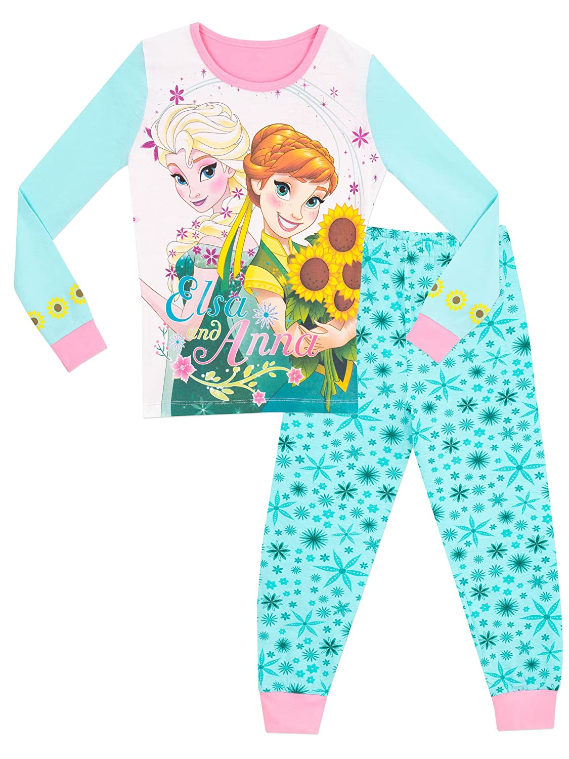 2fe00a723c4 Amazon.com: Disney Frozen Girls' Frozen Anna & Elsa Pajamas Size 10 Blue:  Clothing
