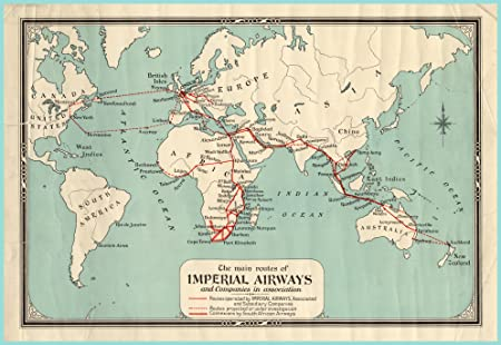 Vintage aviation world map the main routes of imperial airways vintage aviation world map the main routes of imperial airways reproduction map on 200gsm a3 satin gumiabroncs Gallery