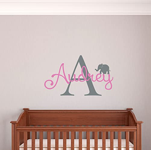 Custom Name Elephant Nursery Wall Decal   Girls Personalized Name Elephant  Wall Sticker   Custom Name