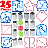25 Piece Sandwich Cutter Kit for Kids Makes Uncrustable Bread in Fun Shapes, Includes 10 Plastic Sandwich Cutters Press 12 Stainless Steel Vegetable and Cookie Cutters and 3 Handles by Salbree