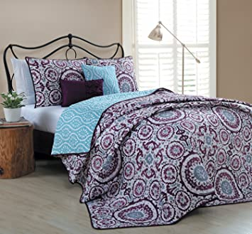 Amazon.com: Geneva Home Fashion 5 Piece Leona Quilt Set, King ... : plum quilt - Adamdwight.com