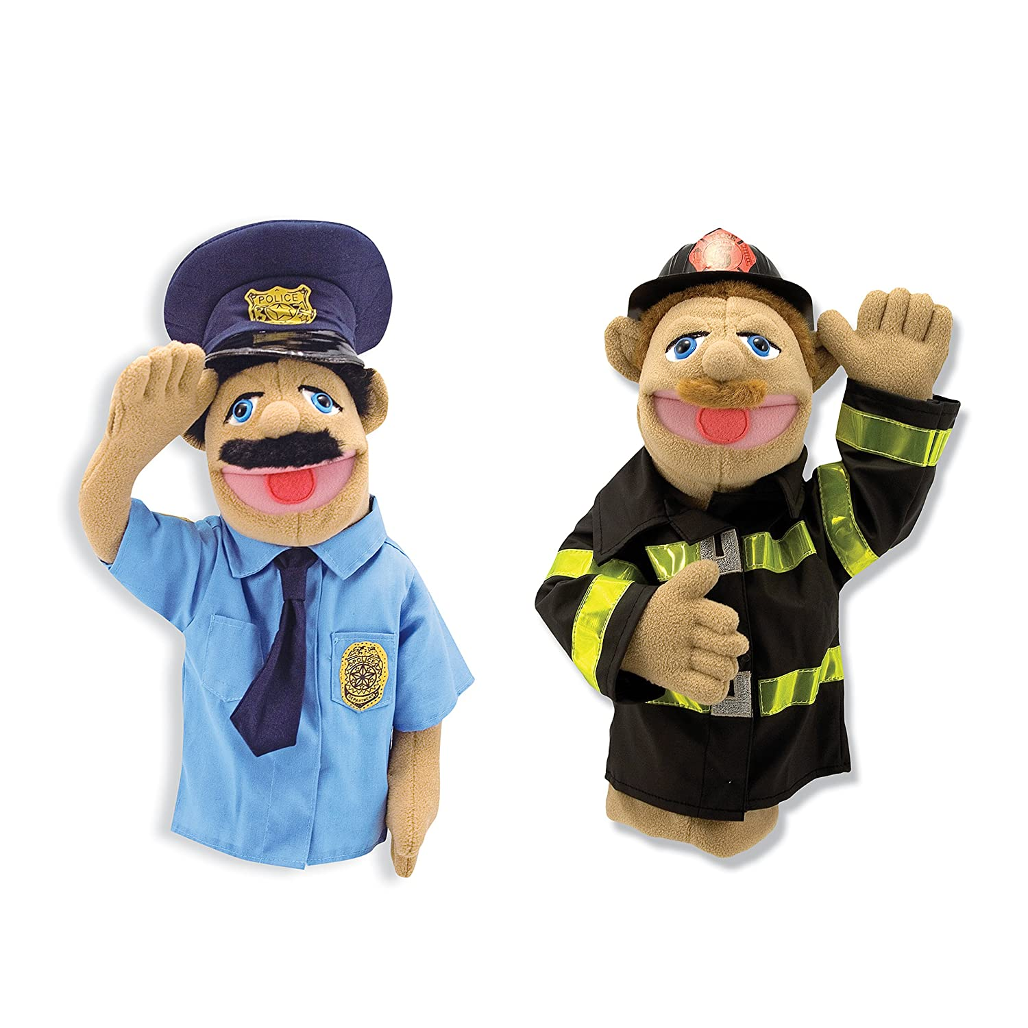Melissa Doug Rescue Puppet Set Police Officer and Firefighter
