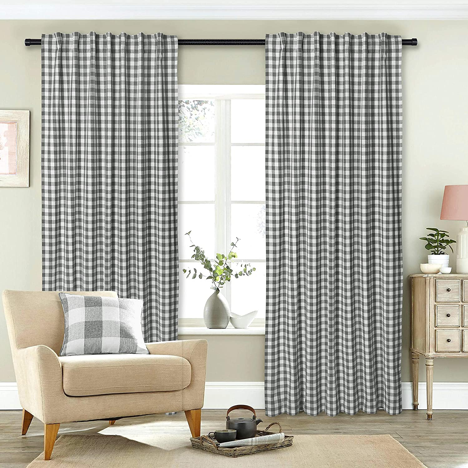 Gingham Check Window Curtain Panel, 100% Cotton, Charcoal/White, Cotton Curtains, 2 Panels Curtain, Tab Top Curtains, 50x108 Inches, Set of 2