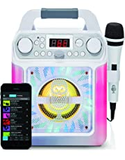 Singing Machine SML650W Bluetooth Karaoke Machine with voice changer and LED lights, White
