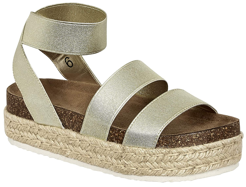 gold4m MVE shoes Women's Strappy Fashion Espadrille Flatforms