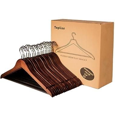 Topline Classic Wood Suit Hangers - 20 Pack (Mahogany Finish)
