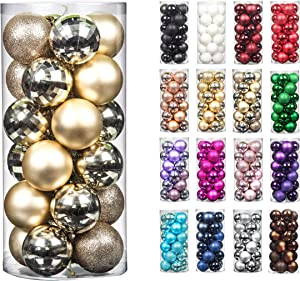 24pcs 2.36in Christmas Decoration Balls Shatterproof Color Set Ornaments Balls for Festival Wedding Home Party Decors Xmas Tree Hanging (60mm Champagne)