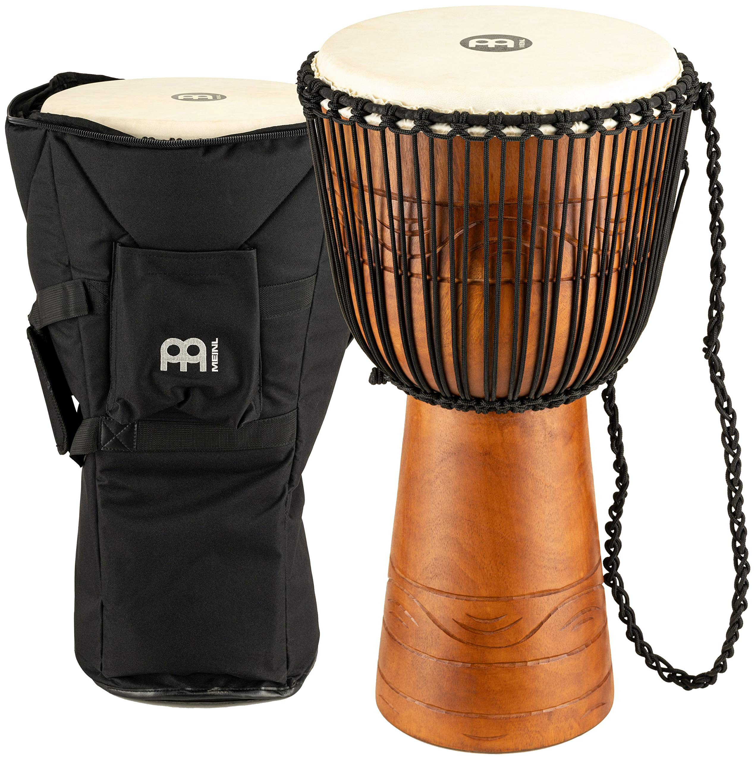 Meinl Percussion ADJ2-L+BAG African Style Rope Tuned 12-Inch Wood Djembe with Bag, Brown by Meinl Percussion