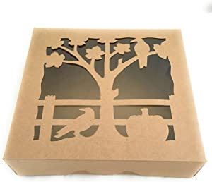 Pie Box- Brown Kraft with Decorative Cut Out Window, 10 X 10 X 2.5 inches, Perfect to Show off your Pies and Low Profile Cakes, Set of 3