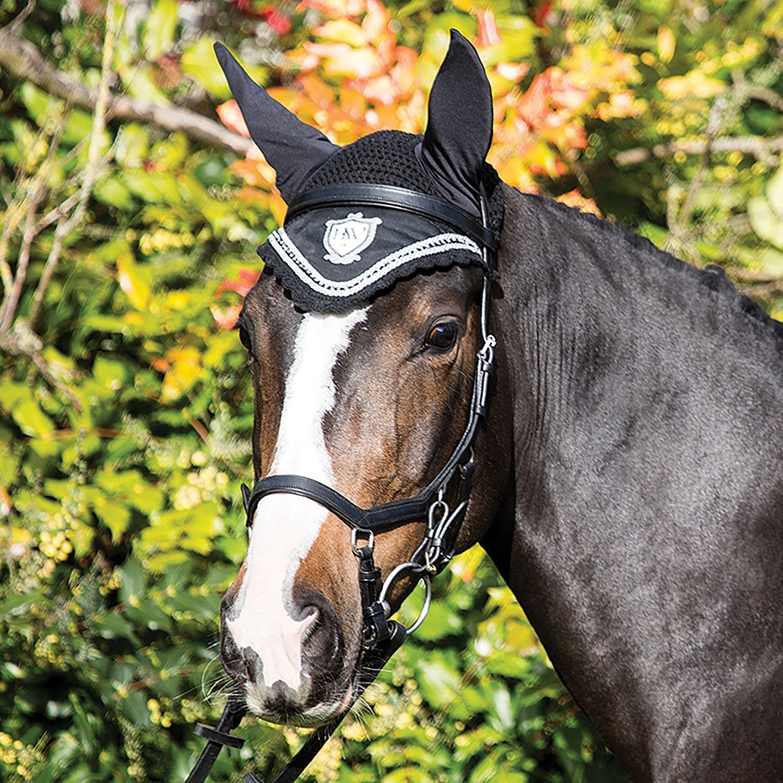 Rambo Diamante Horse Ear Net - Black/Black