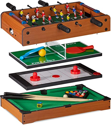 Relaxdays Mesa Multijuegos 4 en 1 Futbolín, Ping Pong, Billar y Hockey, DM, Marrón, 15 x 51 x 51 cm: Amazon.es: Hogar