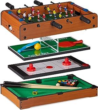 Relaxdays Multigame Tisch 4 in 1, Tischkicker, tennis, hockey & Billard, Kinder & Erwachsene, Multi Spieltisch, braun