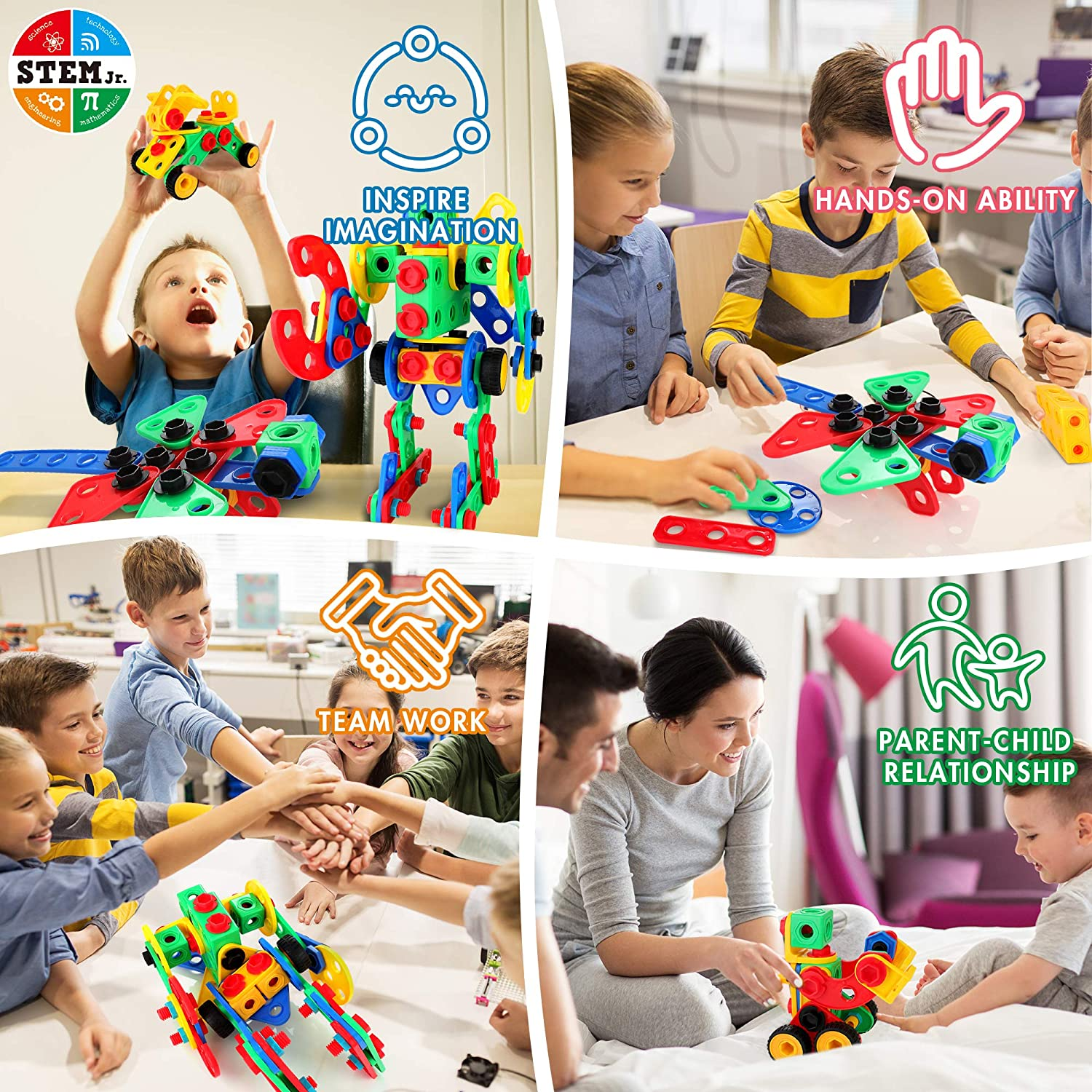 152 PCS Building Blocks Educational Construction Set with Electric Screwdriver Creative Learning Toys for 3-10 Boys and Girls KIDWILL STEM Toy Building Kit Storage Box
