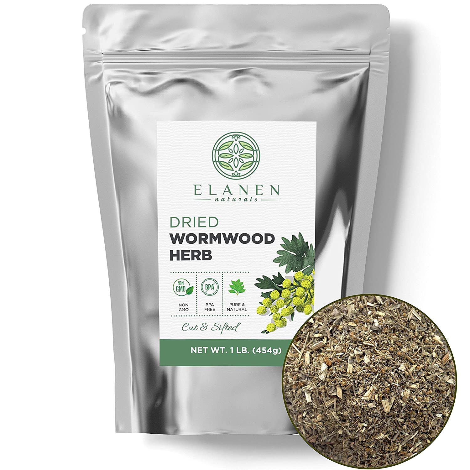 Wormwood Herb 16 oz. (1 lb. Bag), Contains Organic Wormwood Herb in non-BPA Packaging, Wormwood Tea, Worm Wood, Ajenjo Herb, Artemisia Absinthium, Cut & Sifted